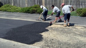 A repaired driveway