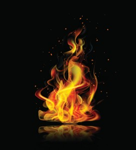 A flame on a black background